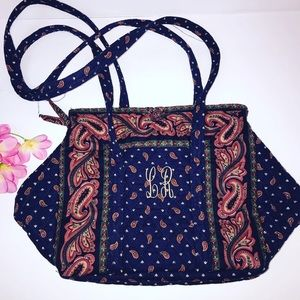 Vintage cloth paisley handmade purse initials LR